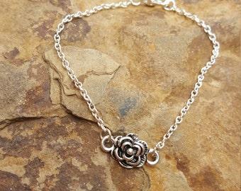 Silver Rosette Bracelet, rose, silver, bracelet