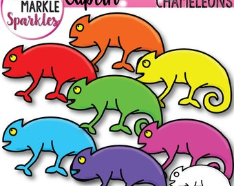 Rainbow Clipart, Chameleons Clipart, Reptile Clipart, Lizard Clipart, Animal Clipart, Rain Forest Clipart, Commercial Use, Digital Graphics