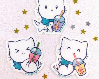 SET OF 3 Bubble Kitteas bubble tea kitty holographic stickers white film water resistant