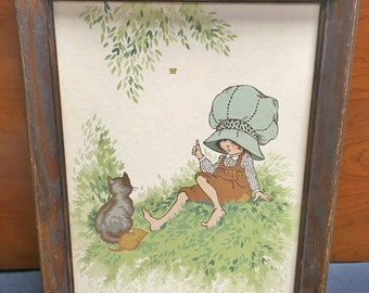 1970s Framed Holly Hobbie Paint-By-Number Picture