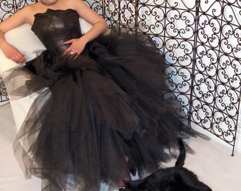 QUEEN of the NIGHT black leather wedding dress