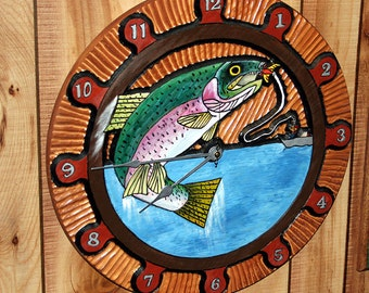Rainbow Trout Carved Clock