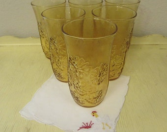 Anchor Hocking Floral Amber Glass Tumblers