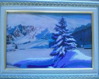 Landscape painting, embroidery