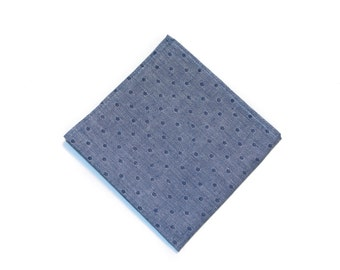 Chambray Pocket Square w/ Indigo Polka Dots, Stylish Handmade Cotton Handkerchief, Men's Chic Accessory