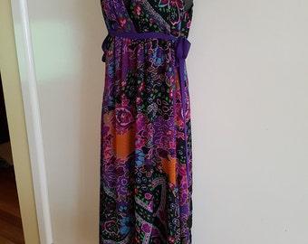70s Retro Party Floral Maxi Dress Size Small Medium