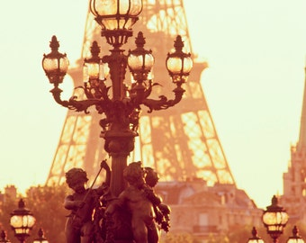 Art Nouveau Lamps with Nymphs, Paris, Eiffel Tower