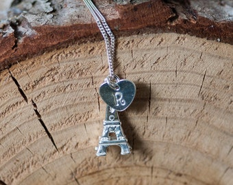Eiffel Tower Charm Necklace Initial Necklace Personalized Jewelry Hand Stamped Silver Charm Jewelry Personalized Gift for Her Heart Charm