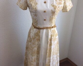 Beautiful 1950's white and gold vintage dress with matching belt by Jonathan Logan
