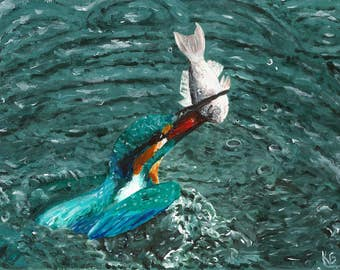 PRINT || Kingfisher Painting, acrylic painting, water painting, wildlife painting, bird painting, fine art print, turquoise painting