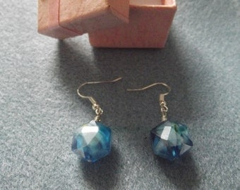 Drop style earrings in blue crystal,  silver plated and hand made with care.