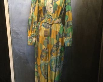 1970s pastel maxi dress//deadstock//-M