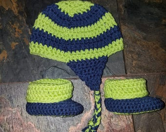 Striped Seahawks Baby Booties & Hat Set