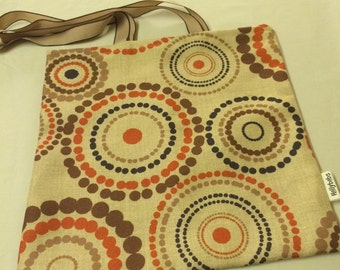 Market bag, Tote bag, Tote, Shopper, shopping bag, book bag, Brown and Orange Circles