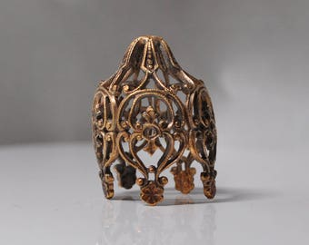 Large Vintage Filigree Bead Caps French Raw Brass 1 Piece 372J