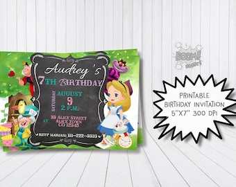 Alice in wonderland invitations etsy for Save the cat template