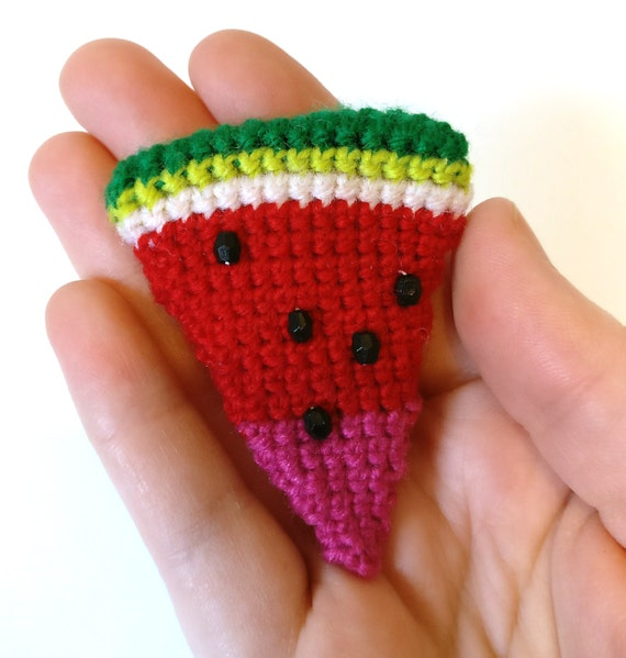 Crochet watermelon slice brooch with faceted bead seeds - red