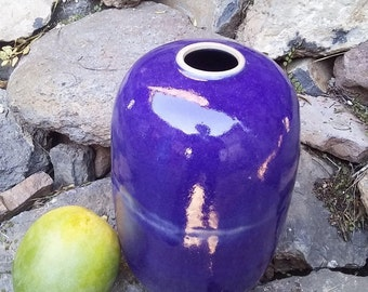"""Large indigo blue vase shining with white """"cloud"""""""