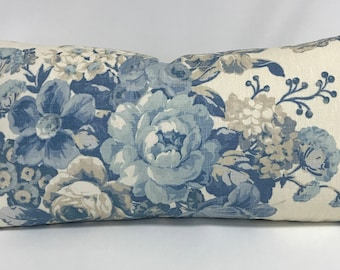 Pillow Cover - Shabby Chic- Blue Floral- Blue and White- Rose - Farmhouse - Cottage - Traditional -Linen -Lumbar- Lined - Invisible Zipper