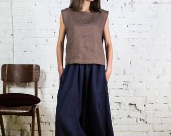 Linen skirt pants, midi skirt pants, long wide pants, linen trousers, wide trousers,Japanese pants,linen wide pants,Loose skirt pants/LP0004