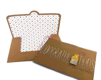 Congratulations On Your New Home Card and Envelope Set   Housewarming   New Home Card   New House   Moving Card   Little Boxes Card