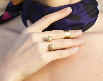 AGNES RING Sphere ring\\Statement ring\\ Geometric Ring\\Gold plated ring 14k\\Gifts for her\\Brass ring
