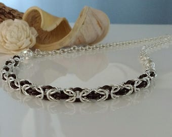 Chainmaille Necklet / Necklace / Bracelet with Coloured Rings, Silver Rings and Magnetic Clasp