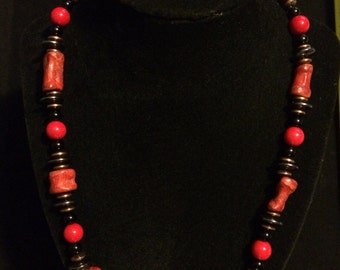 Coral necklace with hematite
