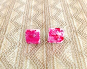 Pink stud earrings, handmade earrings, stud earrings, recycled earrings, simple earrings, geometric earrings, everyday earrings.