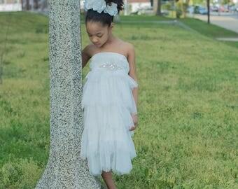 Flower Girl Dress - The Charlotte Dress - Girls Dress - Chiffon Flower Girl Dress - White - Chiffon Dress - Toddler Dress -Size 2-8 years