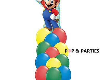 SHIPS FAST - 13 Pc Super Mario Brothers Balloon Bouquet, Mario Balloon, 33 Inch Mario Balloon,  Mario Brothers Party SHIPS 2-3 Business Days