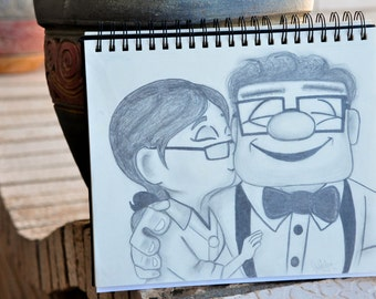 "Disney's ""Up"" Carl and Ellie - Pencil Drawing"