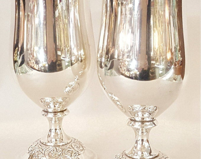 Pair of  Sterling Silver Towle Old Master Water Goblets  #268 Excellent Condition