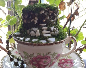 Tea Cup Fairy House, Hobbit Hole, Hobbit House, Fairy Cottage, Hobbit Home, Fairy Door, Fairy Home, Fairy Garden, Gnome Home, Mouse House