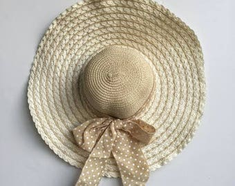 Big Floppy Straw Sun Hat With A Bow // Floppy Beach Hat
