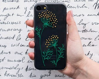 Floral phone case, IPhone 5 5s 5c, IPhone 6, 6 Plus, IPhone 7, 7 Plus, samsung galaxy s5, s6, galaxy s7, girlfriend gift, dill phone case
