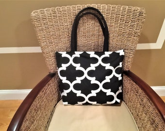 Black and white print fabric tote bag, handbag, market bag, shopping bag, shoulder bag, purse