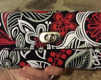 Black Floral Women's Wallet