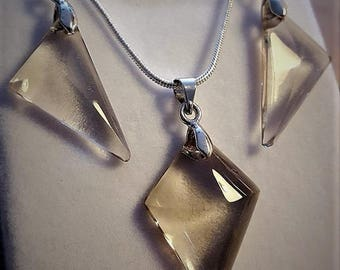 Smoky quartz necklace and earrings