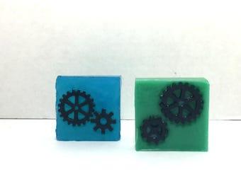 2pc Get in Gear! Gear gearhead soaps Gift Set - 2pc Gear Soap - Men's Soap