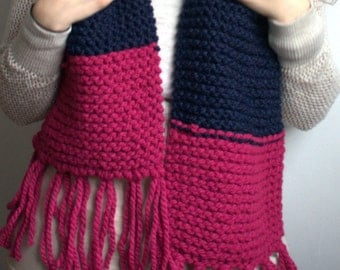 Color Blocked Scarf with Fringe