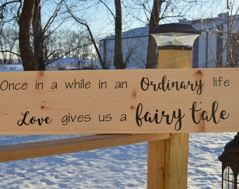 Fairy Tale Love Saying Decorative Wood Sign Home Decor Wedding Gift Shower Gift Sign