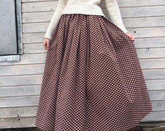 Chocolate cotton skirt polka dot