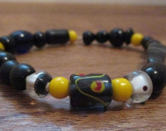 Black&Yellow Beaded Stretch Bracelet