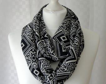 Modern renaissance print infinity scarf, Circle scarf, Print scarf, Scarf for her, Lightweight scarf, Fashion scarf