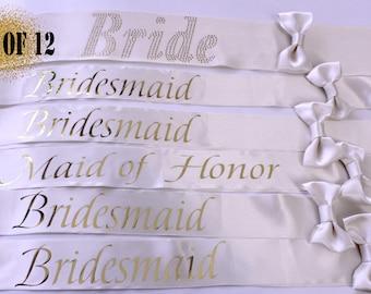 12 Bachelorette sashes, Wedding Sash, 12 Bridesmaid Sash, Weddings, Bachelorette party, Bridesmaid, Maid of Honor, Bride Sash, Set of 12