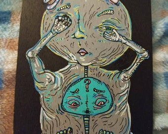 Pop Surrealism Alien Acrylic Painting on Wood Panel