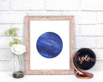 Neptune Wall Decor, Neptune Print, Neptune Wall Art, Watercolor Neptune, Planet Print, Space Print, Solar System Print, Neptune, Galaxy