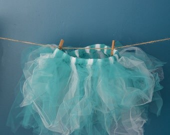 Teal and White Wild and Crazy Child's Tutu