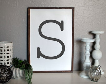 Monogram Wood Sign, Custom Letter, Capital Letter Sign, Gallery Wall, Last Initial Wood Sign, Initial Framed Sign, Monogram, Monogram Decor